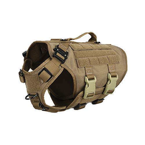 ICEFANG Tactical Dog Operation Harness with 6X Buckle,Dog Molle Vest with Handle,3/4 Body Coverage,Hook and Loop Panel for ID Patch,No Pulling Front Clip (S (22'-27' Girth), CoyoteBrown)