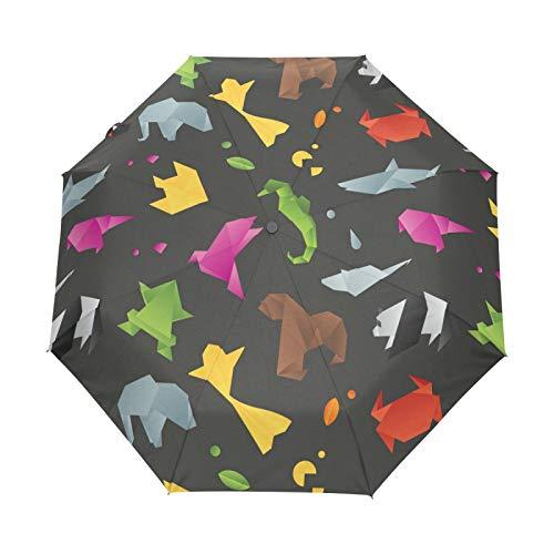 Niedliche Abstrakte Tiere Origami Regenschirm Taschenschirm Automatische Umbrella Winddichte Sonnenschutz Regenschirme Taschenschirme für Damen Herren