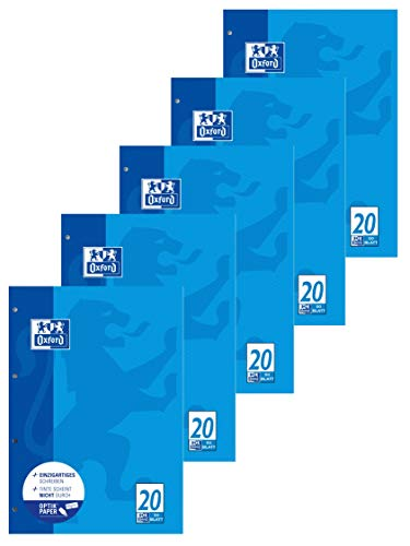Oxford Schule Schulblock A4, blanko, 50 Blatt, blau, 5er Pack