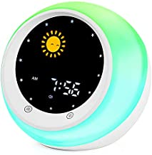 Sun & Moon Rise Kids Alarm Clock, Children's Sleep Trainer,Sleep Sound Machine, Wake Up Light & Night Light,Teach Kids Day & Night