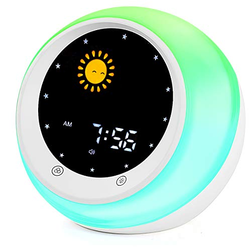 Sun & Moon Rise Kids Alarm Clock, Children's Sleep Trainer ,Sleep Sound Machine, Wake Up Light & Night Light ,Teach Kids Day & Night