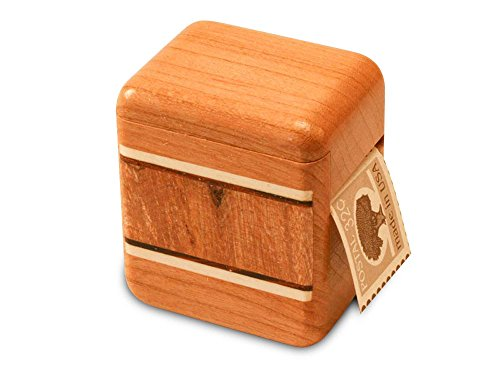 Cherry Stamp Box - Burl Maple Inlay