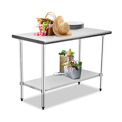 Aplancee Stainless Steel Table 48 x 24 Inches with Adjustable Undershelf Metal Utility Prep Work Workstations for Kitchen or Restaurant Supplies