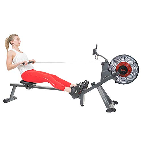 Sunny Health & Fitness Air Plus Magnetic Resistance Rowing Machine – SF-RW5940, Gray