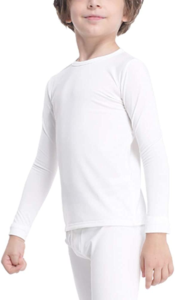 Subuteay Boys Thermal Top Fleece Lined Long Johns Long Sleeve Undershirts Baselayer for Kids