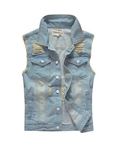 Battercake Vest van denim, gescheurd vest voor heren, voor denim, gaten, gescheurde gaten, comfortabele jas, spijkerjas, klassieke casual jas - blauw - XL