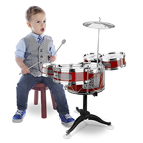 Kids Drums 8 Pieces Drum Sets for Toddler Jazz Drum Kit Educational Percussion for Music Enlightenment Drum Toys for Boys Girls (Red)