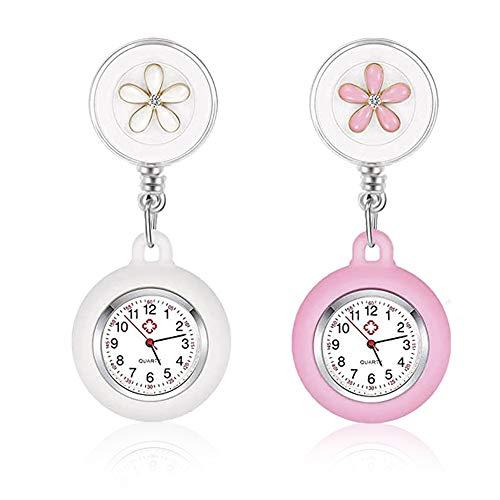 IWILCS Relojes de enfermera, 2PCS Reloj de Bolsillo de Cuarzo, Reloj de bolsillo digital para enfermeras, mujeres, reloj de bolsillo, con manecillas (blanco + rosa)