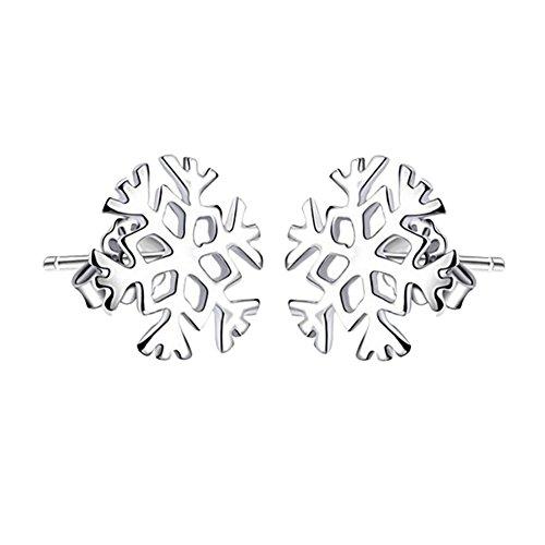 Demarkt 1 Paar Damen-Ohrstecker Schneeflocke, Silber Schneeflocke Frozen Edelweiss Ohrstecker für Mutter oder Freundin oder Kollege