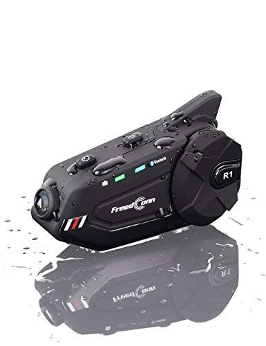 Motorcycle Helmet Headset FreedConn R1plus Bluetooth Intercom with 1080P Camera FM Radio 1000M 6 Riders Waterproof Wireless Communication Sysstems for Half- face & 3/4- face Helmet