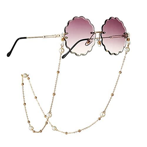 GYZX Tenedor de la Cadena de Gafas para Las Mujeres Pearl Cadena de Cordones Lanyard Glasses Strap Gafas de Sol Cuerdas Vidrios Casuales Accesorios (Color : A, Size : Length-70CM)