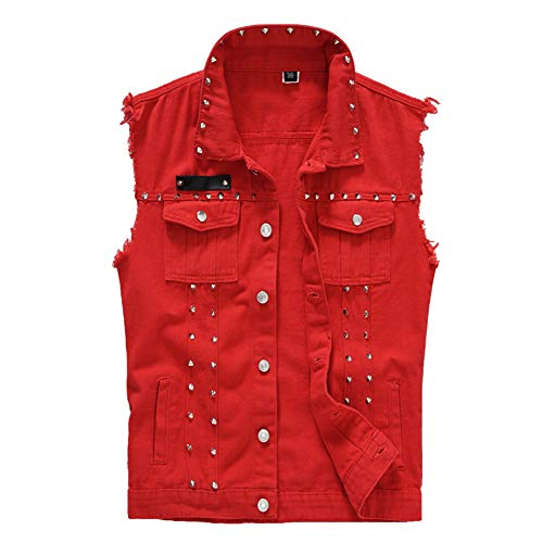 Rock Punk Denim Vest Jacket - Men's Motorcycle Jeans Waistcoat with Metal Rivets Battle Vest ( Red,XL )