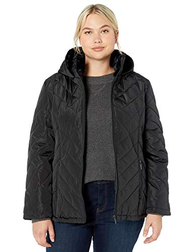 Big Chill Womens Quilted Puffer Coat with Cozy Pile Collar, Black, S