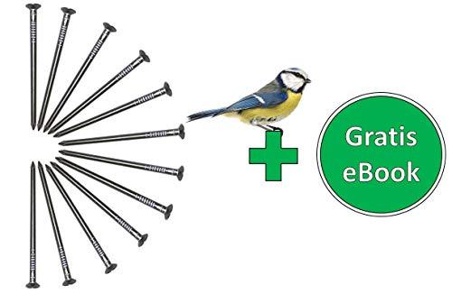 Gardemics Aluminiumnägel für Nistkästen/Futterhaus, Alunägel zur Befestigung von z.B. Nisthöhlen in Bäumen, 12 Stück 4,5x80 mm, GRATIS eBook