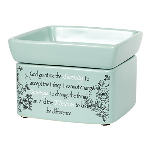 Serenity Prayer Teal White Floral Design Electric 2 in 1 Jar Candle and Wax and Oil Warmer