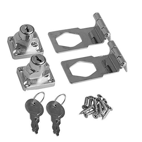 BTMB 2.5 Inch Keyed Hasp Lock 90 Degrees Safety Guard Twist Knob Lock Latch for Doors Cabinets Pack of 2,Keyed Alike