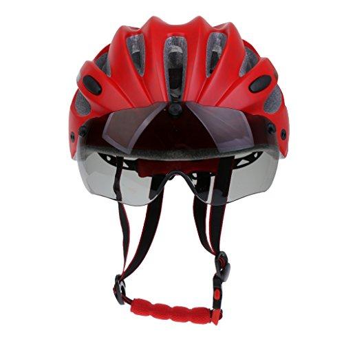 SM SunniMix Fahrrad Schutzhelm Fahrradhelm Visier Der Erwachsenen Männer Frauen Mit Justierbarem Stap - Rot
