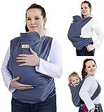 YYKK Portabebé ergonómico Puerta de la Bufanda del algodón Portage tamaño Fresco Bebe fisiológico Adecuado para los recién Nacidos, bebés 3-36 Meses,Azul