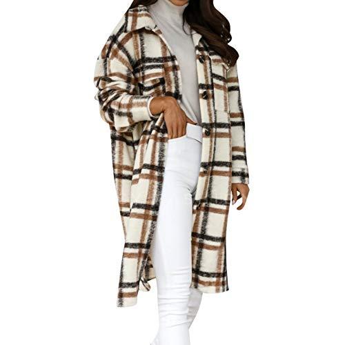 Mymyguoe De Las señoras de la Rebeca de la Rebeca Ocasional de la Rebeca de Las señoras suéter de Punto con el botón a Cuadros Suelto | Outwear otoño Invierno con Bolsillos y Blusa