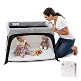 Lumiere,All-in-One Lightweight Travel Crib and Bassinet for Baby and Toddler,Portable Play Yard for Baby for Better, Safer Sleeping,w/ Ventilated Mattress,Oeko-TEX Waterproof Cover & 2 Fitted Sheets
