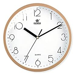 Laigoo 10 Inch Modern Wall Clock Decorative Non-Ticking - Silent Quartz Movement Battery Operated Analog Clock Round for Bedroom, Home, School, Office(Gold)