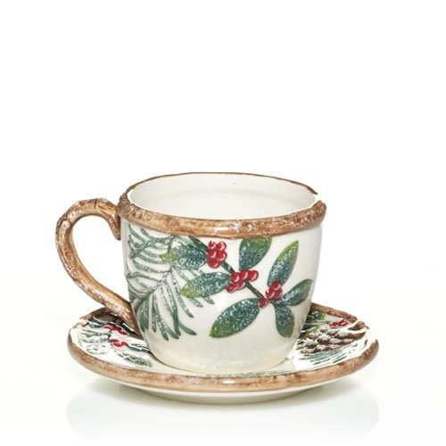 Yankee Candle Christmas Greenery Teacup and Saucer Votive Holder