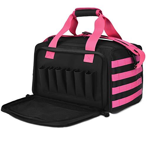 Tactical Gun Shooting Range Bag, Deluxe Pistol Range Duffle Bags Pink