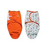 Swaddle Blanket for Newborn Boy or Girl, 0-2 Months, Size Small, 2 Set of Adjustable Infant Swaddle Sack (Orange Traveler)