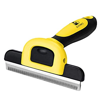 Pet Grooming Brush Effectively Reduces Shedding by up to 95% Professional Deshedding Tool for Dogs and Cats … from Bonve Pet