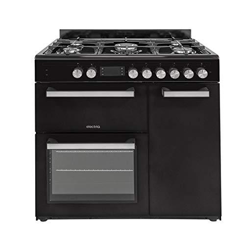 electriQ 90cm Dual Fuel Triple Cavity Range Cooker - Black