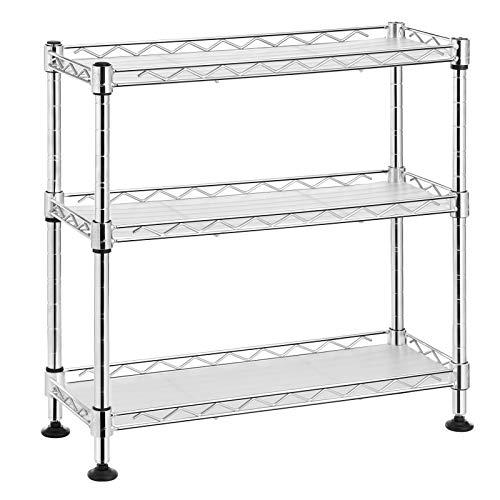 SONGMICS Gewürzregal mit 3 Ebenen, Küchen-Organizer, aus Metall, mit PP-Platten, verstellbare Regalebene, 40 x 15 x 39,5 cm, silbern LGR025S01