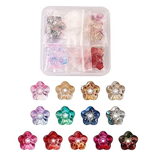 PandaHall 130 cuentas de vidrio de trompeta de cristal de trompeta de cristal con forma de campana, cuentas de cristal de 13 colores, para hacer joyas, pulseras, pendientes