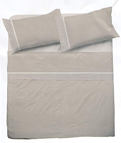 NOVIA - Sábanas para cama individual de algodón Venere, sábanas de algodón para cama individual | Sábana individual con fantasía fantasía | Sábanas para cama individual de niños (Crono Beige – V902)