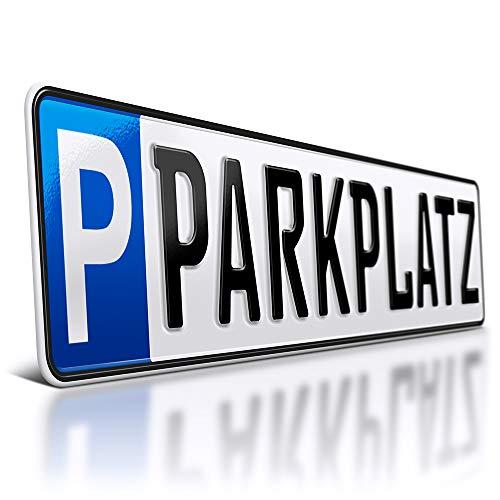 schildEVO 1 Parkplatzschild | 520 x 110 mm | WUNSCHTEXT BIS ZU 9 Zeichen | Parkplatz - Kennzeichen | Kfz Kennzeichen | Wunschbeschriftung | DHL-Versand