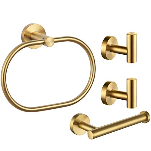 Bathroom Hardware Set 4-Piece Brushed Gold, Angle Simple SUS304 Stainless Steel Bathroom Fixtures Accessory Kit with Towel Hook X 2, Toilet Paper Holder and Rotary Towel Ring, Wall Mount