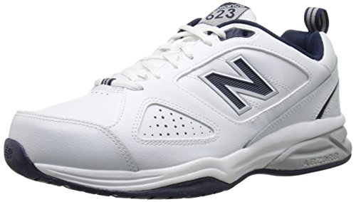 New Balance mens 623 V3 Casual Comfort Cross Trainer, White/Navy, 10.5 Wide US
