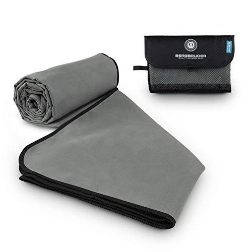 BERGBRUDER Microfaser Handtücher - Ultraleicht, kompakt & schnelltrocknend - Mikrofaser Handtuch, Reisehandtuch, Sporthandtuch (Grau-Schwarz, M 120x60 cm)