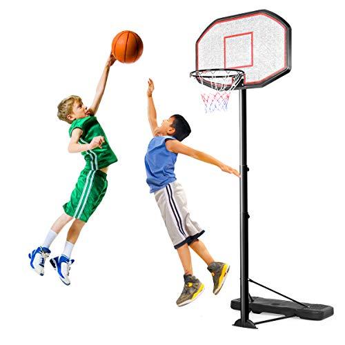 GOPLUS Basketballständer Basketballkorb Basketballanlage für Junge und Erwachsene Korbhöhe 220 – 305 cm inkl Räder