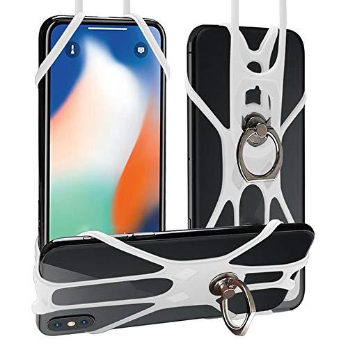 delibett Teléfono Acollador Universal Silicona Funda De Silicona para Teléfono con El Cordón para iPhone X 8 7 Plus 6 6S Samsung Galaxy S8 S7 Edge Note 4 5 Huawei 4 A 6.5 Pulgadas
