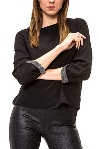 VERO MODA Damen Langarmbluse Tunika Blusenshirt Shirt Bluse (XS, Schwarz)