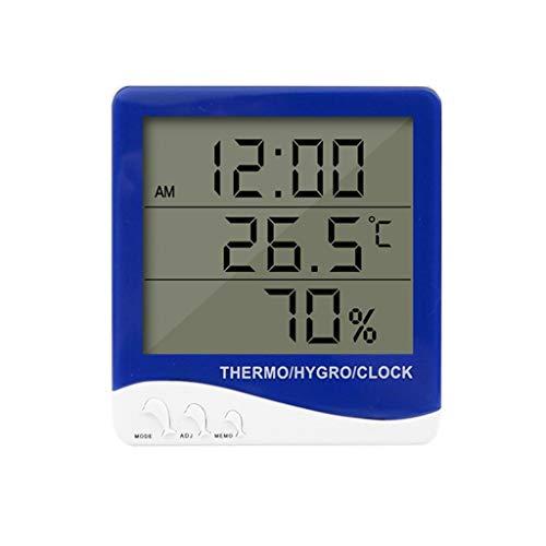 Termómetro Digital E Higrómetro Medición Electrónica Interiores Exteriores, Reloj Despertador Hora Calendario,...