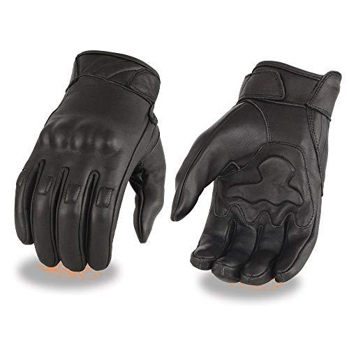 Milwaukee Leather MG7521 - Guantes de piel para hombre con palma de gel y protectores de nudillos, talla pequeña -  Negro -  Small