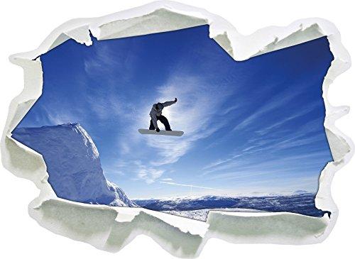 Snowboard Jump Sports extrêmes, Papier 3D Sticker Mural Taille: 62x45 cm décoration Murale 3D Stickers muraux Stickers