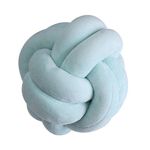 Jouet créatif en peluche pour bébé – Coussin à nœud doux avec boule nouée oreiller tendance décoration de la maison, Vert, 18x18cm