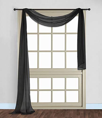 Scarf Sheer Voile 37x216 Window Premium Quality Home Event Designs Beautiful Elegant Solid Topper Long Treatment Scarves Decorative Wedding Valance Curtain Living Room Bedroom Ceremony (BLACK)