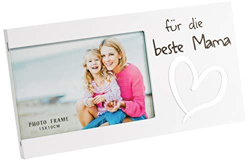 Brandsseller Marco de fotos – para la mejor mamá – con espejo en forma de corazón 25 x 13 x 1,5 cm, color blanco mate