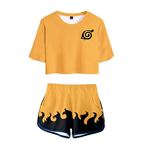 2 PieceUchiha Outfits for Women Short Sleeve Crop Top and Short Pants Sets (4, Small)