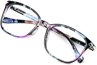 Blue Light Blocking Glasses for Women, Anti Eyestrain, Computer Reading, TV Glasses, Stylish Square Frame, Anti Glare(No Magnification)
