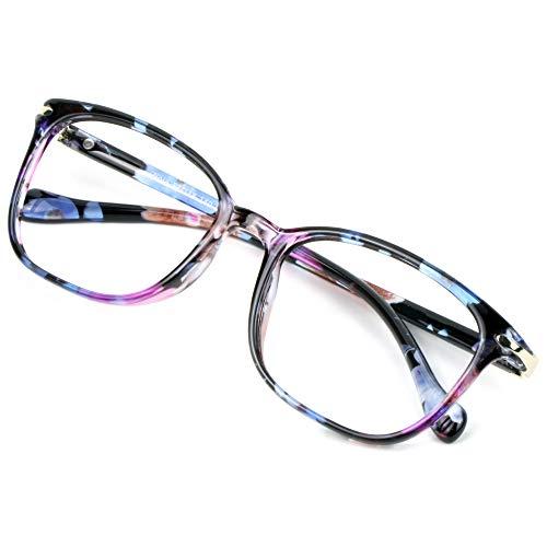 Blue Light Blocking Glasses for Women, Anti Eyestrain, Computer Reading, TV Glasses, Stylish Square Frame, Anti Glare(+1.50 Magnification)