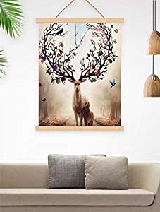 Magnetic Wooden Photo Frame-Natural Wood Frame DIY Picture Poster Scroll Prints Artwork Canvas Hanger Teak Wood-photo to canvas-12